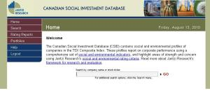 Old Canadian Social Investment Database Interface