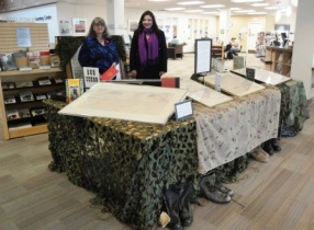 Fran and Tanisha presenting the Library display